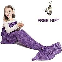 Mermaid Tail Blanket for Kids ,Hand Crochet Snuggle...