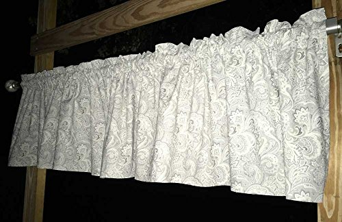 Light Shades of Gray Paisley Cotton Handcrafted Grey Curtain Valance