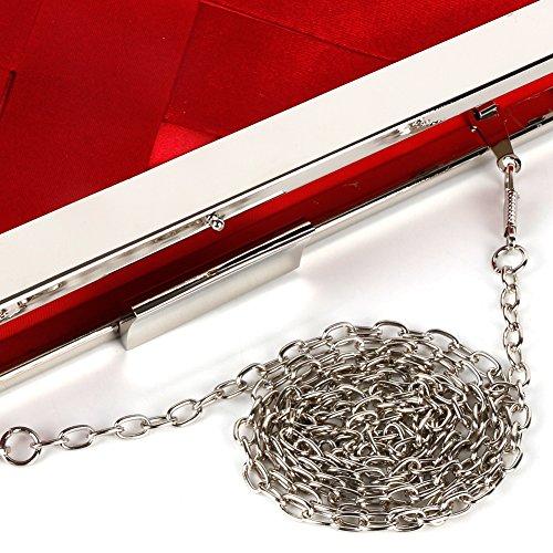 Bidear Satin Evening Bag Clutch, Party Purse, Wedding Handbag with Chain Strap for Women Girl (Red) by Bidear (Image #5)