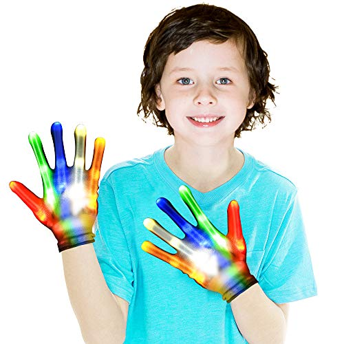 SnowCinda Toys for 4-8 Year Old Boys and Girls, Led Gloves for Kids Light Up Gloves with 5 Colors 6 Modes, Colorful Flashing Finger, Best Gifts for Boys or Girls Age 6-7