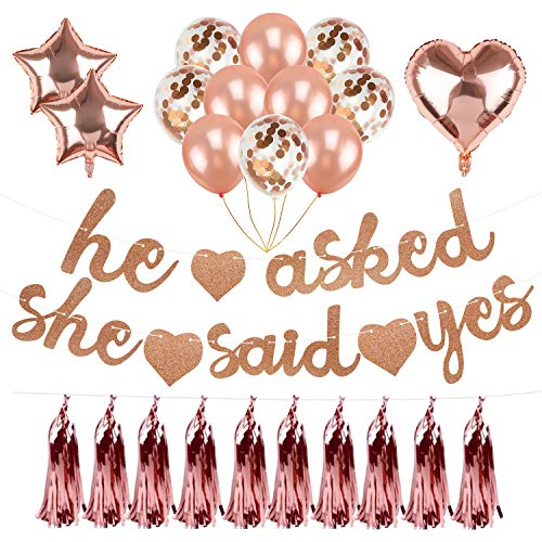 (Rose Gold Bachelorette Party Decorations,He Asked She Said Yes Banner,Confetti Latex Balloons,Heart & Star Shaped Foil Balloon,Metallic Foil Tassel Garland for Wedding Bridal Shower Engagement)