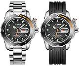 Jiusko Mens Deep Sea Analog Quartz Dive Watch Set - 300m Diver - Sapphire - Stainless Steel Bracelet and Black Rubber Strap Set - Black Dial - Big Day Date - 120LB02