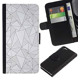 KLONGSHOP // Tirón de la caja Cartera de cuero con ranuras para tarjetas - líneas modelo negro gris del arte abstracto poli - Apple Iphone 6 //