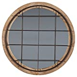 Ashley Furniture Signature Design – Eland Accent Mirror – Industrial – Black Finished Metal w/ Natural Wood Finish For Sale