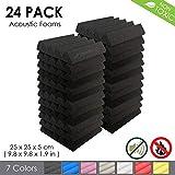 Arrowzoom New 24 Pieces of (25 X 25 X 5 cm) Soundproofing Insulation Wedge Acoustic Wall Foam Padding Studio Foam Tiles AZ1134 (BLACK)