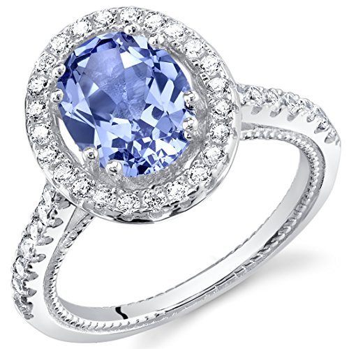 Peora Simulated Tanzanite Sterling Silver Halo Ring