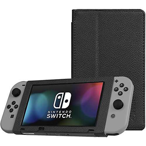 Fintie Protective Case for Nintendo Switch - Premium PU Leather Slim Fit Play Stand Cover for Nintendo Switch 2017, Black (Leather Stand)
