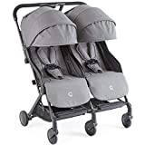 Contours Bitsy Double Compact Fold Lightweight Travel Stroller, Adapter-Free Car Seat Compatibility, Extended Canopy, Reclining Seats, Large Storage Basket, Granite Grey