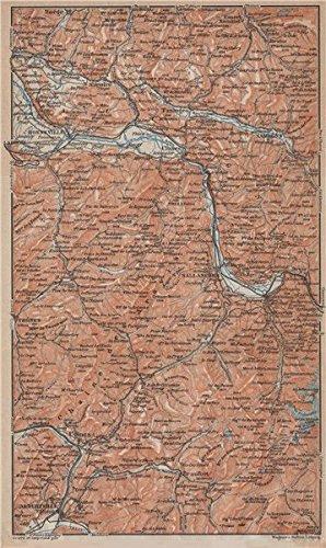 HAUTE-SAVOIE. Chaine d'Aravis Albertville Sallanches Cluses Bonneville - 1914 - old map - antique map - vintage map - Haute-Savoie map - Albertville Map