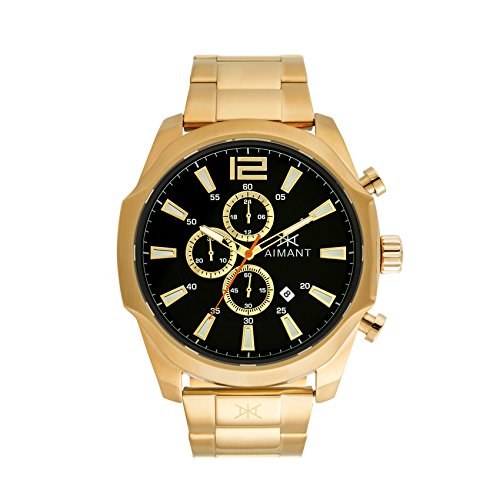 AIMANT Men's Lyon Gold with Gold Stainless Steel Bracelet Watch (Gents Gold Bracelet)