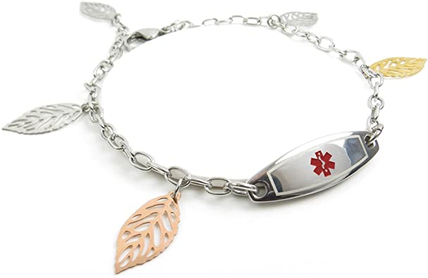 Red Steel Hearts Pre-Engraved /& Customizable Penicillin Allergy Toggle Medical Alert Bracelet My Identity Doctor