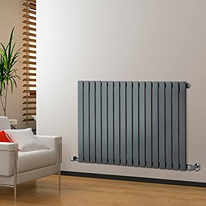 Milano Alpha - 635mm x 420mm Anthracite Horizontal Flat Column Panel Designer Radiator