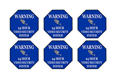(Rogue River Tactical 6 Pack Warning Security Video Camera Surveillance Monitored 24 Hour Sign Sticker Decal Window Door Indoor Outdoor 3x3 Inch)