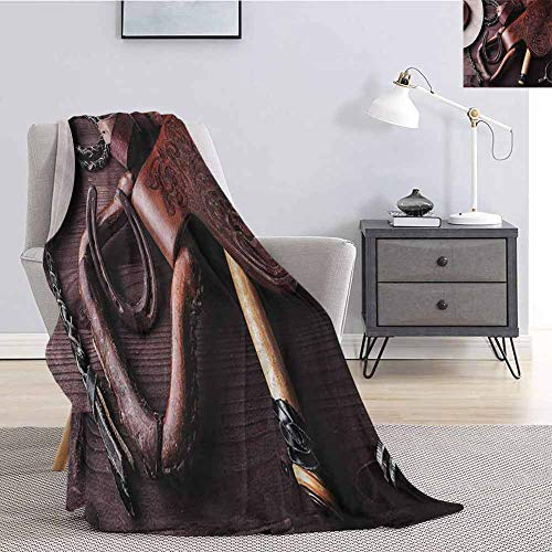 Luoiaax Western Fuzzy Blankets King Size Clothes and Accessories for Horse Riding with Kitsch Details Rural Sports Themed Art Soft Fuzzy Blanket for Couch Bed W60 x L91 Inch Brown