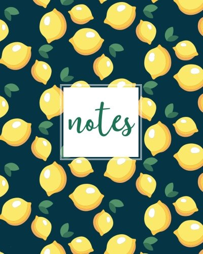 """Notes, Composition Notebook: Navy Lemons, 150 Pages, Medium (College) Ruled, 6"""" x 9"""" (Gifts for Women, Teenagers, Girls, Moms, Students & Teachers or ... Relief, Mindfulness, Antistress and Notes)"""