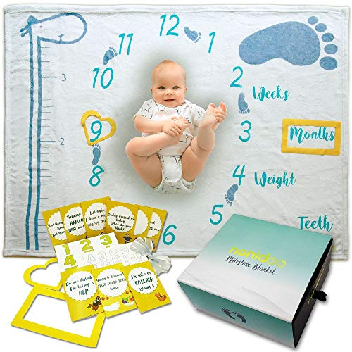 Very Cute Baby Pictures - Nonidoo Baby Monthly Milestone Blanket, Super Soft Photography Baby Month Blanket - Infant and Newborn Baby Milestone Blanket - Very Cute Baby Shower Gift - 18 Matching Photo Props Included