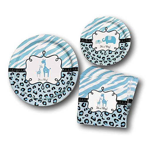 New Baby Boy Plate (Safari Boy Baby Shower Babyshower Blue Disposable Paper Plates and Napkins Party Pack Supplies Bundle - Tableware set includes Dinner Plates - Elephant Dessert Plates and Blue Giraffe Napkins)