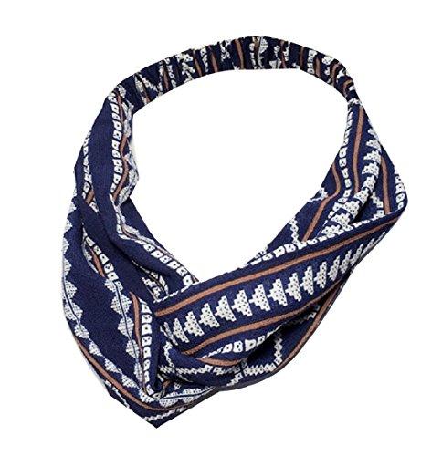 Fseason Women's Wild Twisted Patterned Chiffon Yoga Headband Navy Blue OS - Animal Patterned Bands