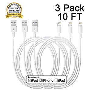 amazon com  cablex tm 3pcs 10ft 8 pin to usb extra long