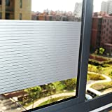 Coavas Window Film Static Cling PVC Privacy Protection Frost Glass Film for Home And Office Striped Window Film(35.4''-by 78.7'')
