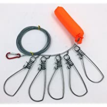 All Stainless Steel Fishing Stringer Fish Lock 5 Snap Stainless Steel Ropes with Float