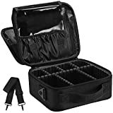 Syntus 2 Layers Travel Makeup Bag with Mirror, Portable Train Cosmetic Case Organizer with Adjustable Dividers Large Capacity for Cosmetic Makeup Brushes Toiletry Jewelry Digital Accessories, Black