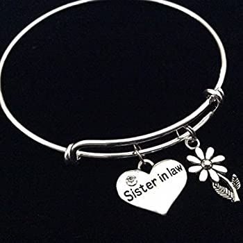 Sister In Law Expandable Charm Bracelet Silver Adjustable Bangle Family Wedding Reunion Gift
