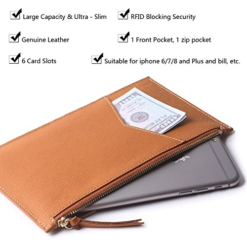 Borgasets Ultra-Thin Women's Wallet RFID Blocking Leather Credit Card Holder Zipper Purse for Phone Brown by Borgasets (Image #4)