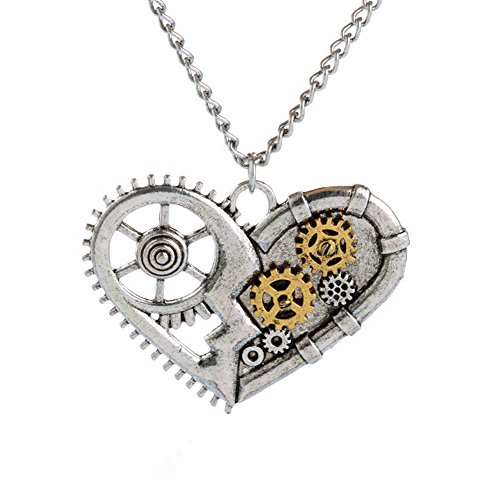 Cool Steampunk Costumes (Steampunk Necklace Heart Pendant Charm Vintage Steampunk Necklaces Pendant Charm Jewelry with Free Gift Box for Women and Teens)