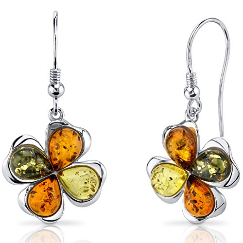 Baltic Amber Clover Earrings Sterling Silver Olive Honey and Cognac Colors - Cognac Color Amber Earrings