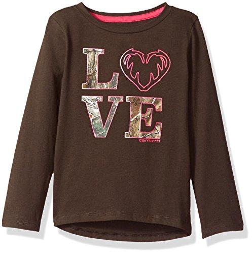 Carhartt Toddler Girls' Long Sleeve Tee Shirt, Love Dark Brown, 4T by Carhartt (Image #1)