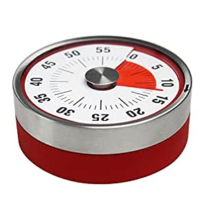 (Red) - Magnetic Mechanical Rotate Timer 60 Minutes Record Capacity Counter Alarm loud Sound Ring Working When Time Is Reached For Kitchen Cooking baking Sports Office Timekeeper