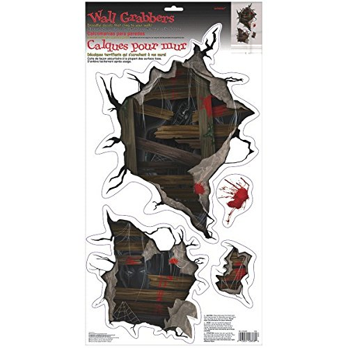 (Haunted Mansion Wall Grabber Halloween Trick or Treat Party Decoration, 4 Pieces, Made from Vinyl, 23 3/4