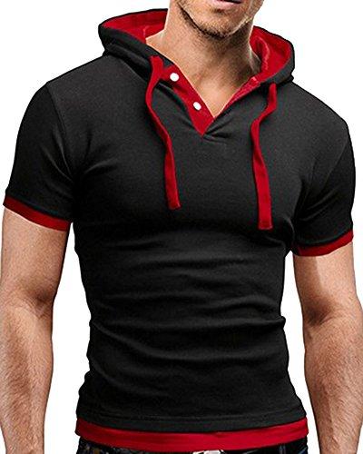 Con Uomo Nero Corta Manica Cappuccio Maglietta Rosso T shirt Zhuikun qOfpFtq