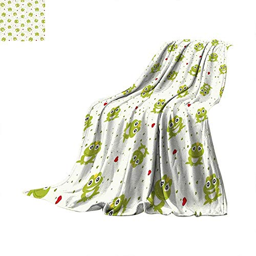 Animal King Flannel Blanket Cute Illustration of Frog Prince on Heart Dotted Retro Background Love Romance Weave Pattern Extra Long Blanket 50 x 30 inch Green Red White