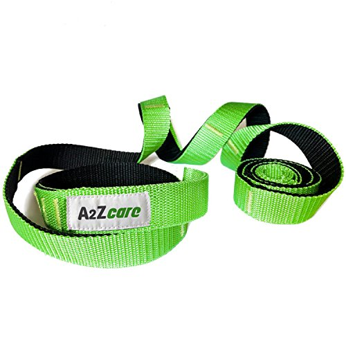 A2ZCARE Yoga Stretch Strap with Multi-Loop 76 inches Long, 1 inch Wide - Exercise Stretching Strap for Yoga Practice, Pilates Exercise, Dance, Fitness and Physical Therapy Rehab (Green/Black)