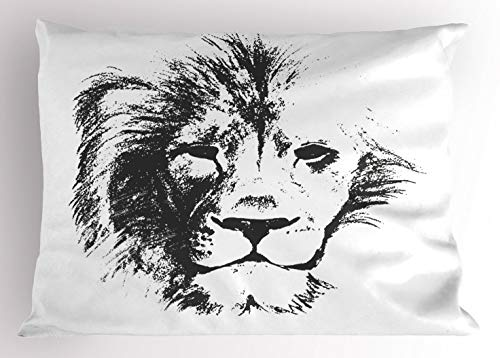 Majestic King Sham - Ambesonne Tattoo Pillow Sham, The King of The Jungle Pencil Drawing Handmade Majestic Lion Head Image Print, Decorative Standard King Size Printed Pillowcase, 36 X 20 Inches, Grey and White