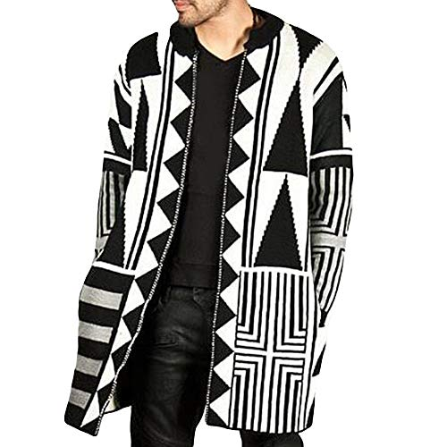 (TANLANG 2019 Men's Personality Color Matching Sweater Coat Baseball Uniform Jacket Sport Coat Loose Sweater Trend Blazer Black)
