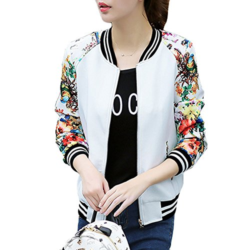EVEDESIGN Women's Floral Print Baseball Bomber Jacket Slim Fit Casual Zip up Outwear -