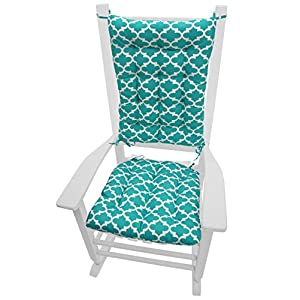 Fulton Aqua Quatrefoil Rocking Chair Cushions - Size Extra-Large - Indoor / Outdoor: Fade Resistant, Mildew Resistant - Latex Foam Fill (Teal, Presidential)