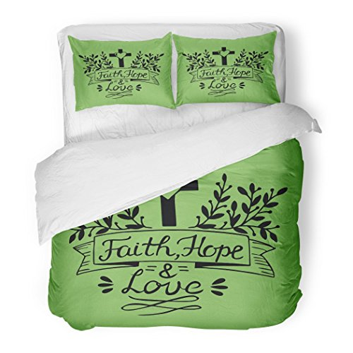 SanChic Duvet Cover Set Hand Lettering Faith Hope and Love on Green Bible Verse Christian New Testament Modern Calligraphy Decorative Bedding Set with 2 Pillow Shams Full/Queen Size by SanChic