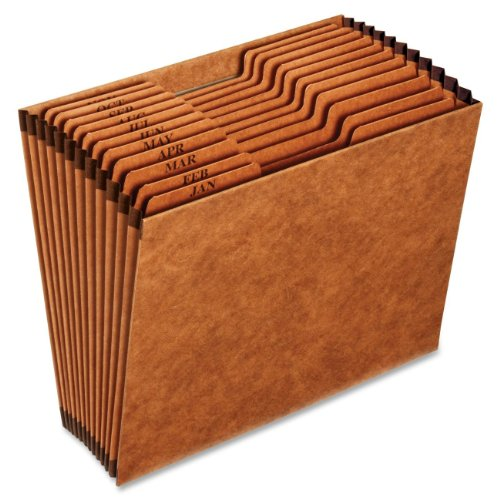Globe-Weis/Pendaflex Heavy-Duty Expanding File, Open Top, 12 Pockets, Monthly Index, Letter Size, Brown (R217MHD)