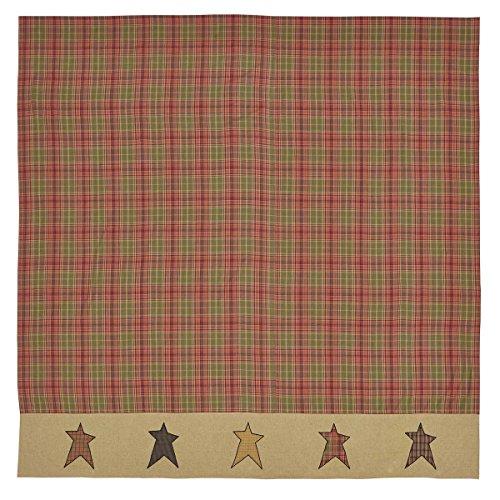 VHC Brands Primitive Bath Sutton Rod Pocket Cotton Button Holes Hooks Appliqued Star Shower Curtain, 72 x 72, Orange Red (Curtain Red Shower Plaid)