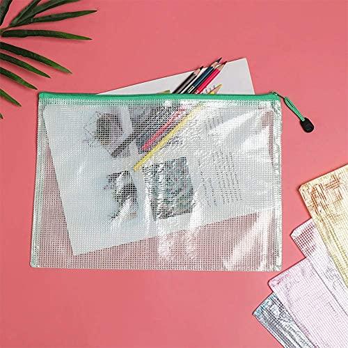 Koogel Zipper File Bags, 12Pcs Plastic Zip Envelopes Multiple Sizes Plastic Document Bags for School and Office Supplies A4 A5 A6 B4 B5 B6