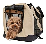 Cheap Pet Life Folding Zippered 360 Vista View House Carrier in Khaki, Medium