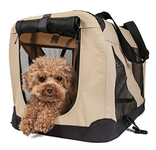 - Pet Life 360° Vista View' Zippered Soft Folding Collapsible Durable Metal Framed Pet Dog Crate House Carrier, Small, Khaki