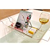 MyGift European Style Metal Extendable Bathtub Caddy w/ 2 Wineglass Holders, Book Stand & Candleholder