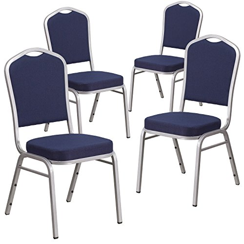 Flash Furniture 4 Pk. HERCULES Series Crown Back Stacking Banquet Chair in Navy Fabric - Silver Frame