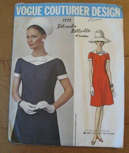 (Vintage VOGUE COUTURIER DESIGN PATTERN #1777 SIZE: 14 ***MISSES' ONE-PIECE DRESS*** A Belinda Bellville of London Pattern)