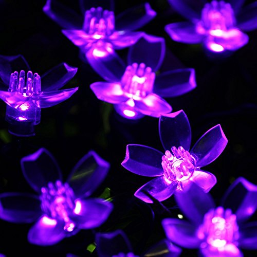 Dephen Solar String Lights, 22ft 50 LED Cherry Blossom Outdoor Waterproof Lights String, Flower Fairy Christmas Lights for Garden, Yard, Wedding, Christmas Tree Decorations (Purple) (Purple Flowering Tree)